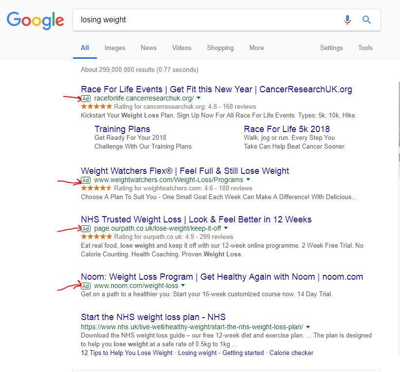 losing-weight-google-search-result
